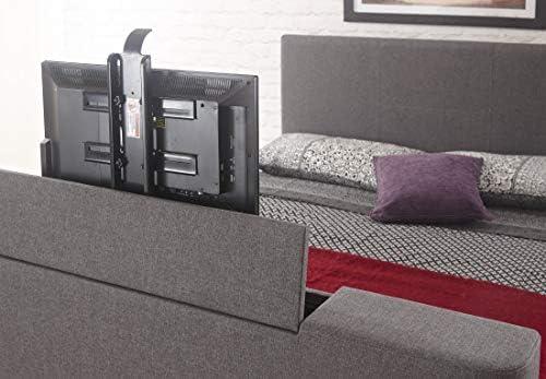 Grey Doppio Similpelle Home Source,/letto elettrico con supporto per TV incorporato nella pediera,/pu/ò contenere un televisore con schermo fino a 32 pollici