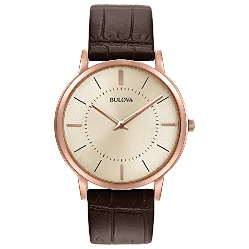 - Bulova Mens 97A126XG Quartz Ultra Slim Rose-Gold Case Brown Leather 40mm Watch (Renewed)