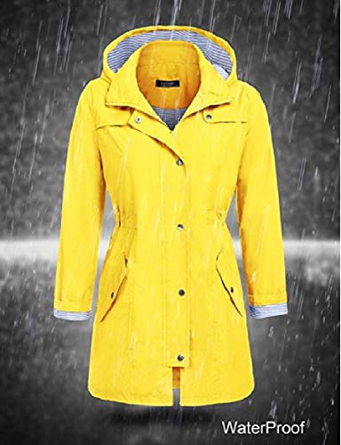 Hood Outerwear Casual Women Jackets Mid Yellow Skinny Howme Long Waterproof nWTqg0wpw