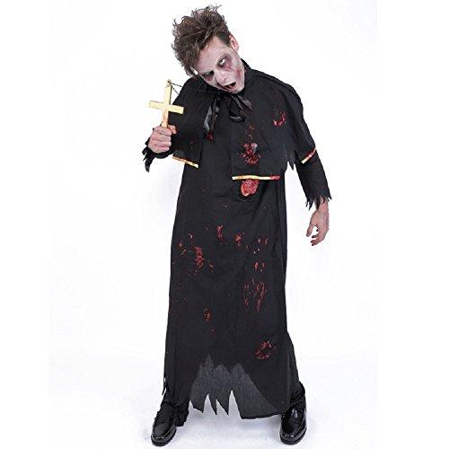 Zombie Collection -- Zombie Priest Costume with Cross Necklace -- Men's S/M (Dead Nun Halloween Costume)