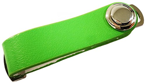 (UbiGear Compact Smart Key Chain Expandable Leather Holder Organizer (hold 1-6 Keys) (Leather, Green))