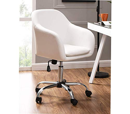 Wood & Style Office Home Furniture Premium Faux Leather Office Desk Swivel Chair, White