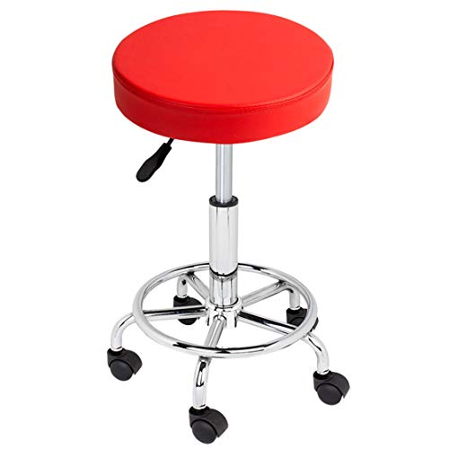 FOUR CLOVER Adjustable Beauty Rolling Swivel Salon Cushioned Medical Stool Chair Seat with PU Leather and foot rest Chrome Metal Base for Drafting Massage Facial Spa Tattoo(Red)