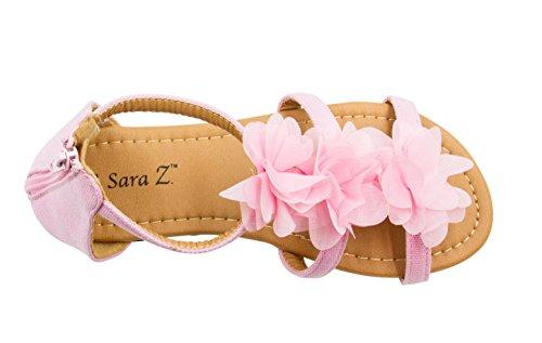 - Sara Z Girls Double T Strap Flat Sandal with Back Zip Chiffon Ruffle Top Pink Size 4/5
