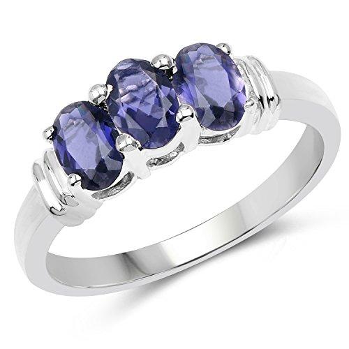 1.23 Carat Genuine Iolite .925 Sterling Silver 3-Stone Ring (3 Stone Iolite Ring)