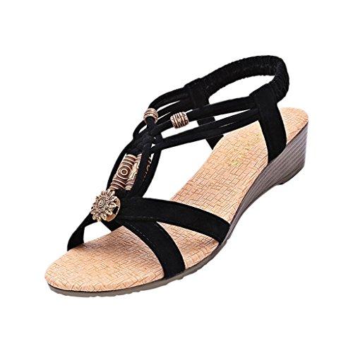 Hee Grand Damen Sommer T-Spangen Sandalen mit Keilabsatz Schwarz