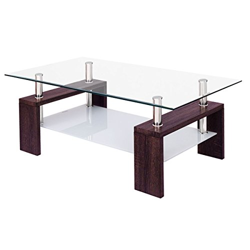 Tangkula Rectangular Glass Coffee Table Shelf Living Room Furniture (New Brown) (Coffee Tables Modern Glass)