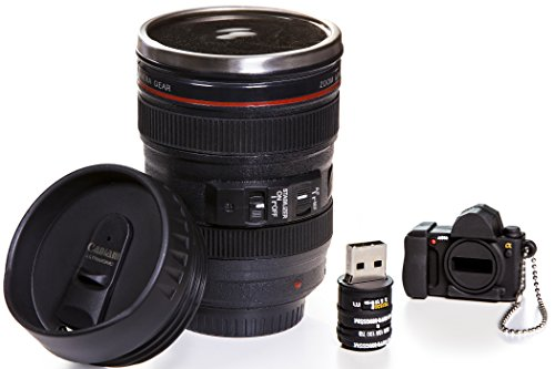 Camera Lens Coffee Mug, 13.5 Oz :: Exact Replica of Canon EF 24-105mm Lens :: Comes with 16GB USB Flash Drive :: Durable PVC & Stainless Steel :: Great Gift Set for Photographers by Indie Camera Gear (Usb Gb 16 Shaped)
