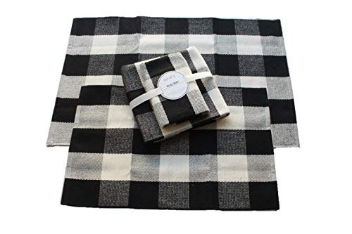 Original Buffalo Plaid Porch Rug - SET OF 2 Medium & Small Back Door Plaid Rug Kitchen Rug, Pet Mat, Plaid Rug Washable for Bathrooms Black and White Door Mat Outdoor Buffalo Check Rug Woven Rug Plaid