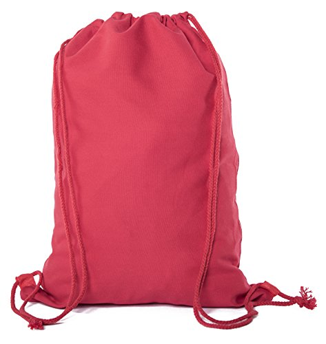Multi-Purpose 100 % Cotton Canvas Drawstring Backpacks-Wholesale Heavy Duty Cotton Cinch Sacks -By Mato & Hash - 100PK Red CA2725 by Mato & Hash