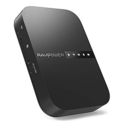 RAVPower FileHub, Wireless Travel Router AC750, Portable SD Card HDD Backup and Data Transmission Unit, 6700mAh External Battery Pack 2019 Version from RAVPower