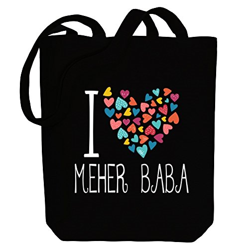 Meher hearts love colorful Canvas Tote Bag Religions Idakoos I Baba EvwTpq