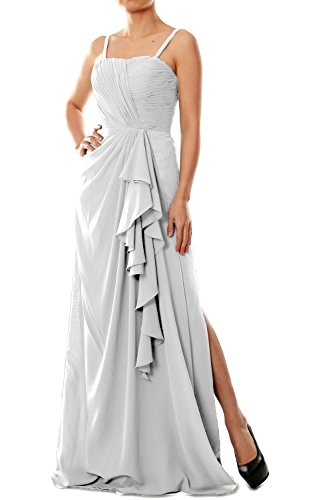 Evening Women Straps Bridesmaid Gown Chiffon Spaghetti Weiß Formal Dress MACloth Long 8xXd8S