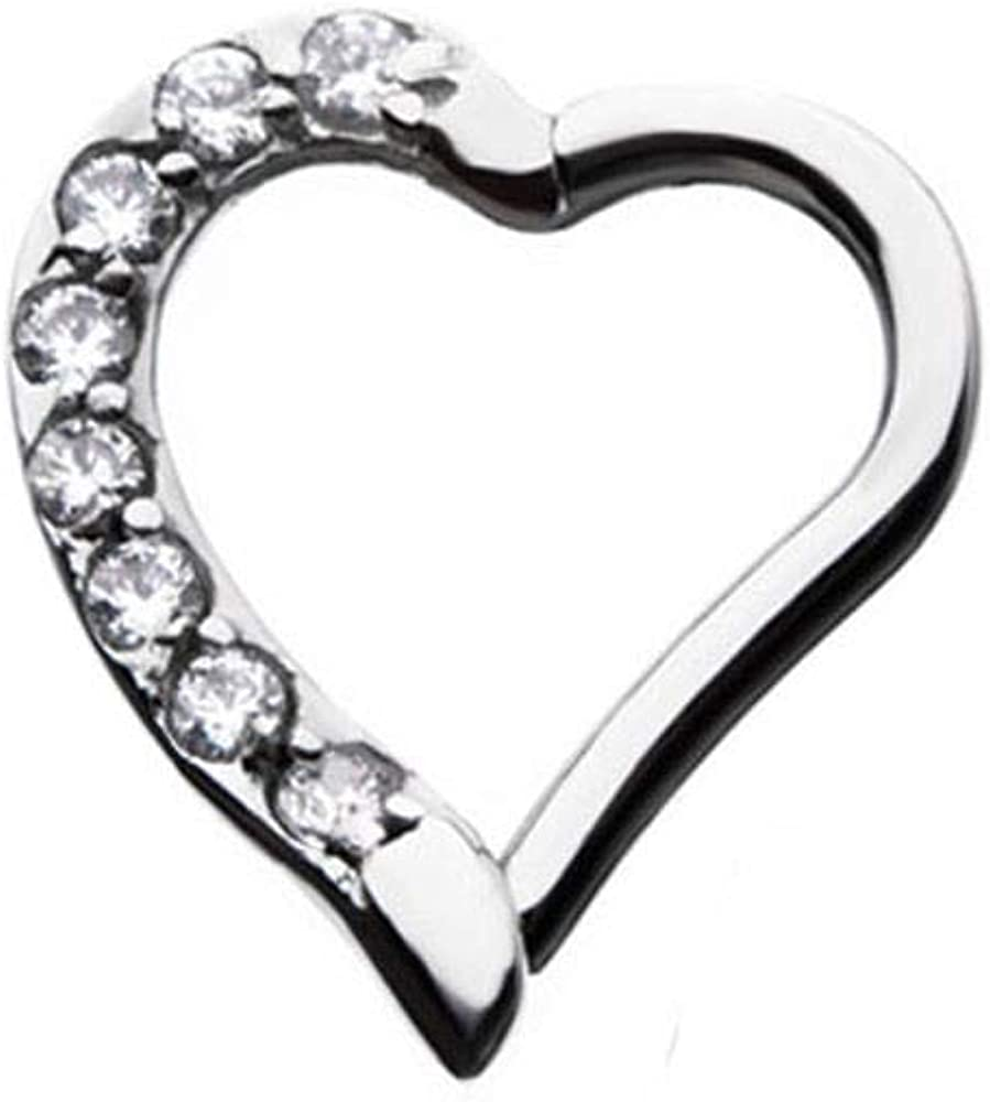 """316L Surgical Steel Septum Clicker Ear Cartilage Helix Daith Hoop Nose Ring Hinged 5/16"""" or 3/8"""" Left or Right Heart 16G"""