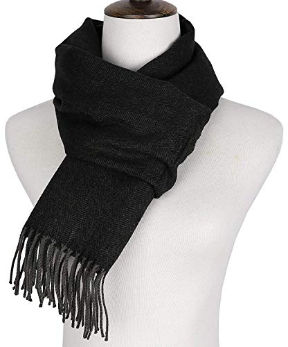 Runtlly Men's Winter Scarf Soft Classic Cashmere Feel Scarves Unisex 9-0 Black