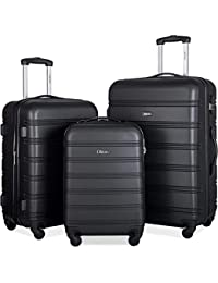 92d814dbf 3 Pcs Luggage Set Expandable Hardside Lightweight Spinner Suitcase (Classic  Black)