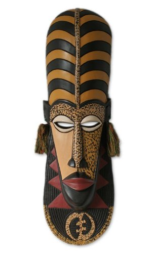 NOVICA Decorative Unique African Large Wood Mask, Yellow 'Ashanti Wisdom' by NOVICA