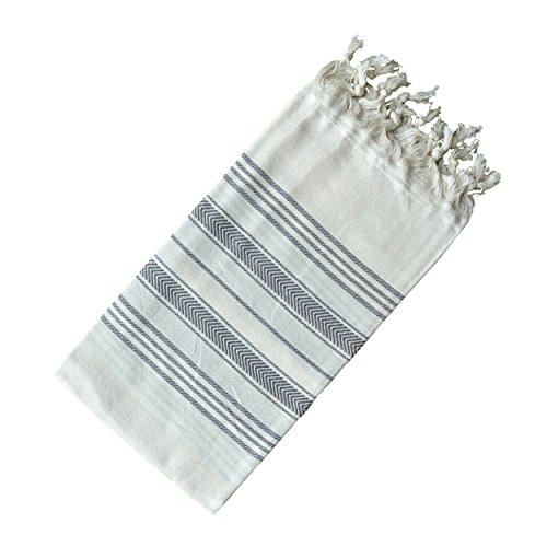 - Dandelion - Ivory Basic Pattern - Naturally-Dyed Cotton Turkish Towel Peshtemal - 71x39 Inches - Gray