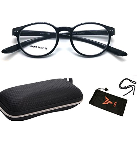 (#CR01-blk2.5) 1 Pair Spring Hinged LONG ARMS Round Shape Designer Trendy Readers Reading Glasses + Hard Case + Pouch ( Strength +2.50 ) by CPS