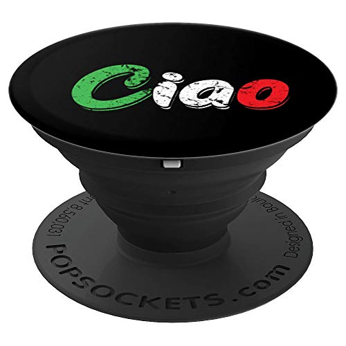Ciao Italian Greeting Art | Italy Lover Language Gift Tee - PopSockets Grip and Stand for Phones and Tablets