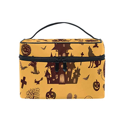 OREZI Halloween Skull Cosmetic Bag Large Multifunction Makeup Travel Toiletry Travel Kit Organizer Case with Quality Zipper Portable for Makeup Bag for Women ()