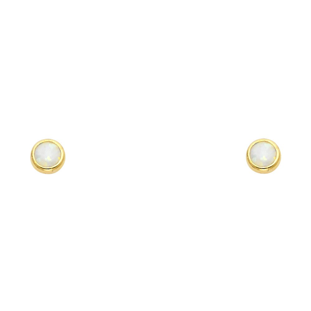 Wellingsale 14K Yellow Gold Polished Opal Round Stud Earrings With Screw Back
