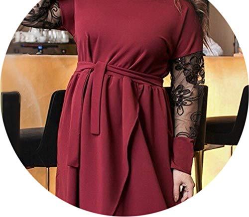 ess Elegant Women Dress Casual Black Dress Large Wrap Dress Robe,Burgundy,4XL ()