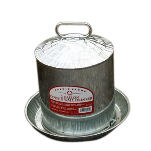 Harris Farms Galvanized Double Wall Poultry Drinker, 2 Gallon