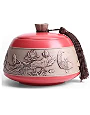 XSWZAQ Adult Funeral Urn Ceramics Cover Urns Moisture Proof Handcrafted Cremation For A Small Amount Human Or Pets Ashes (Color : Red)