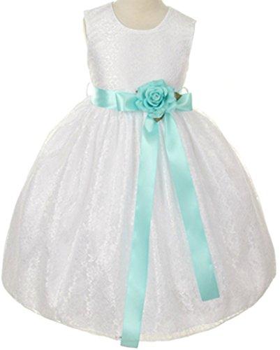 Floral Lace Overlay Elegant Flower Girl Dress for Little Girl White Aqua Aqua 4 11.32 (Aqua Floral Dress)