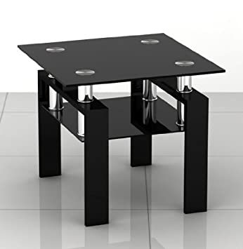 Square Black Glass Coffee/Side/End Table With Black Legs By Limitless Base