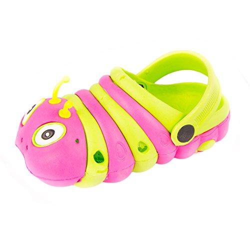 Fresko Toddler Kids Caterpillar Clogs, T1047, Pink/Green, 9 M US (Eva Kids Clogs)