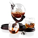 Globe Liquor Decanter set with 2 Etched Whisky Glasses by QUASIFY - for Liquor, Whiskey, Scotch, Bourbon - 850ml (Clear Stopper)