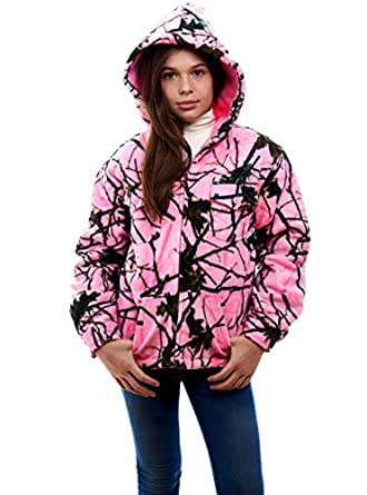 TrailCrest Kids Camo Sherpa Lined Zip Up Jacket, XS, Rose Camo