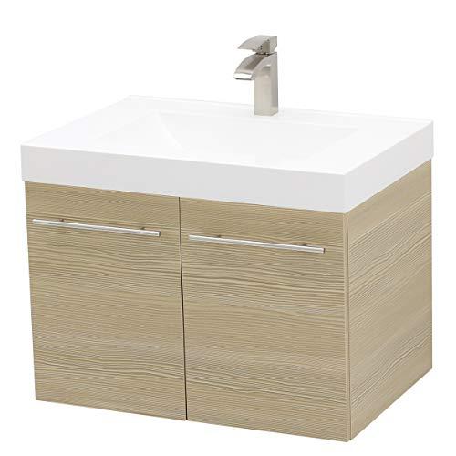 WindBay Wall Mount Floating Bathroom Vanity Sink Set. Tan Vanity, White Integrated Sink Countertop - - Wall Mount Sink Beige