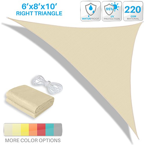 Patio Paradise 6' x 8' x 10' Waterproof Sun Shade Sail-Beige Triangle UV Block Durable Awning Canopy Outdoor Garden Backyard by Patio Paradise