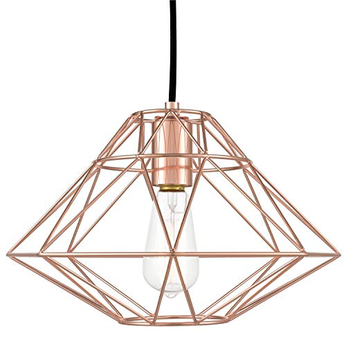 - Light Society LS-C137-RG Wellington Geometric Pendant, Rose Gold, Modern Industrial Lighting Fixture