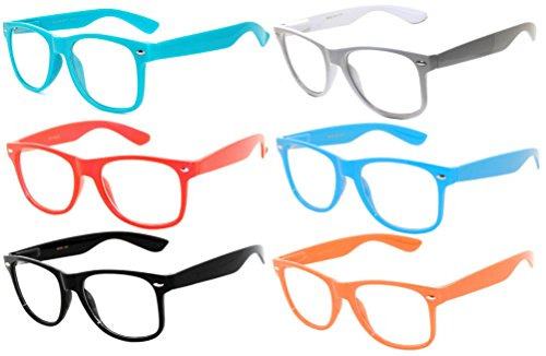 Retro' 80 6 Pack Vintage Clear Lens Sunglasses Colored Frame - Eyewear 80 8 To