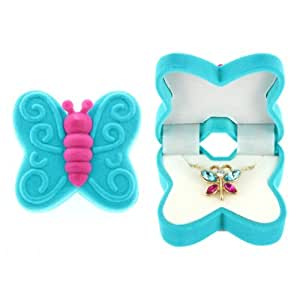 BUTTERFLY Necklace Charm Pendant w/ Crystal Wings in Butterfly Velour Gift Box (Aqua)
