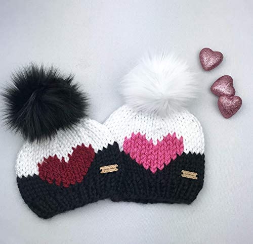 Heart Beanie - Valentines Day Knit Hat with Faux Fur Pom ()