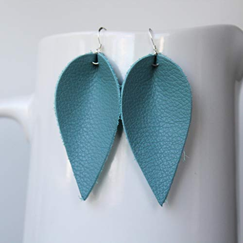 Genuine Leather & Sterling Silver Leaf Earrings // Slate Blue // Joanna Gaines ()