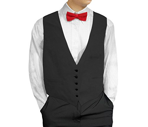 Broadway Tuxmakers Mens Waiters/Bartenders Five Button Long Vest (46, Black)