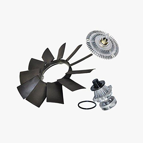 (Water Pump (Metal Impeller) + Fan Clutch + Fan Blade kit for BMW E46 320i 323i 323is 325Ci 325xi 328Ci 328is 330Ci 330xi 525iT 528i 530i M3 X5 Z3 Premium 11517527799/11527505302/11521712058 (3pcs) New )