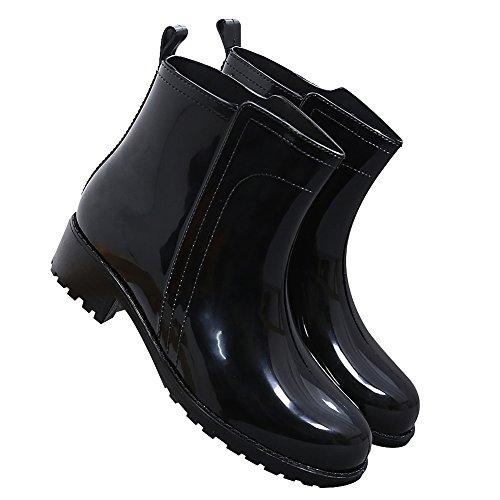 da Pioggia Giardino Stivali Donna Caviglia Scivolare su Casuale Elegante Nero Alto rismart Impermeabile qBTvPIw6xx