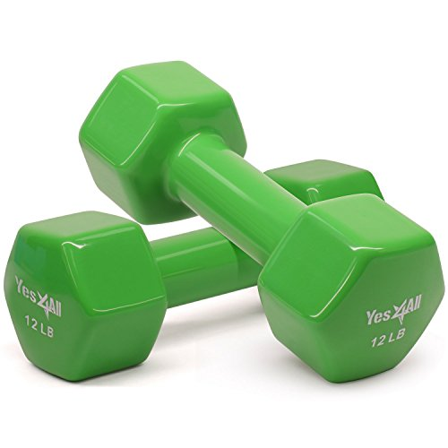 Yes4All Vinyl Coated Dumbbells – PVC Hand Weights for Total Body Workout (Set of 2, Emeral Green, 12 lbs)