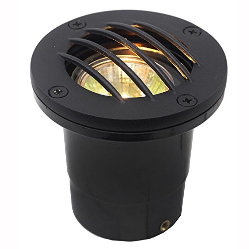 AQLighting Composite In Ground UL Certified Landscape Well Light with Curved Brass Grill Cover, Dual Voltage, 12V / 120V Uplight for Driveway, Deck, Step, Garden Lights Outdoor