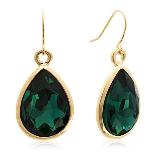 Green-Crystal-Pear-Shape-Dangle-Earrings-In-Yellow-Gold-Tone