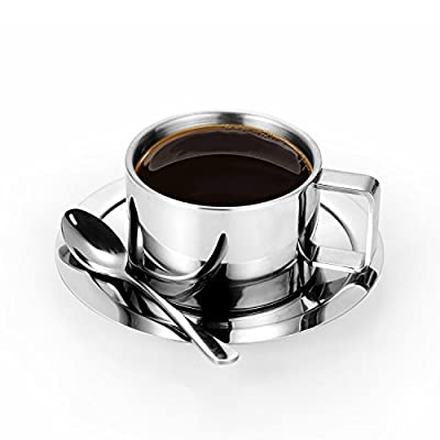 Stainless Steel Coffee Cup Set, Double Walled Insulated Espresso Latte Cappuccino Milk Mug with Saucer and Spoon, for 7 oz / 200 ml