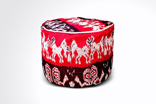 Round Ikat Pouf Ottoman, Red & Black. Ethnic, Boho Pouf, Floor Cushion. Handwoven in Indonesia. 20''W x 13.5''H by Kasih Coop