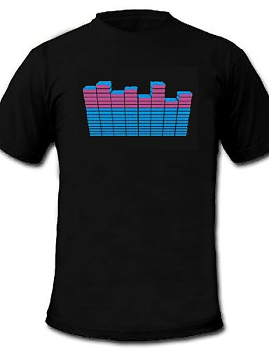 HJLHYL Sound and Music Activated EL Visualizer VU-Spectrum Dancer T-shirt (2AAA) , l